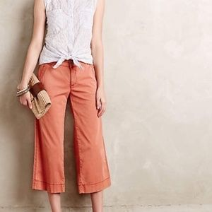 Hei Hei Anthro Wide Leg Cropped Pants Orange Sz 27